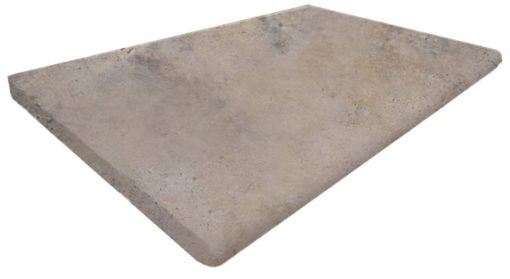 beige, silver and black pool coping tile with bullnosed edge