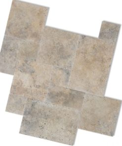 antique and rustic coloured travertine paving in french pattern