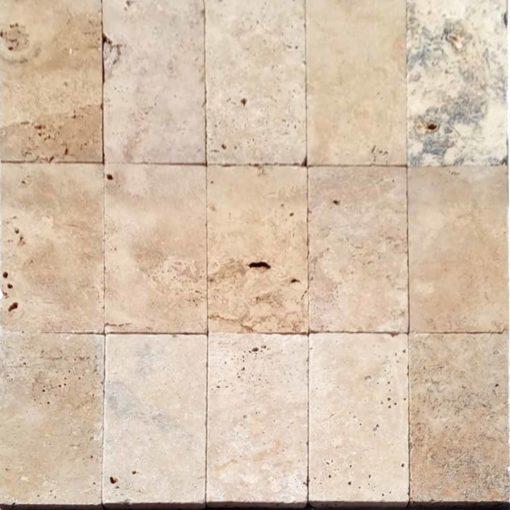 Rustic coloured travertine in a rectangle