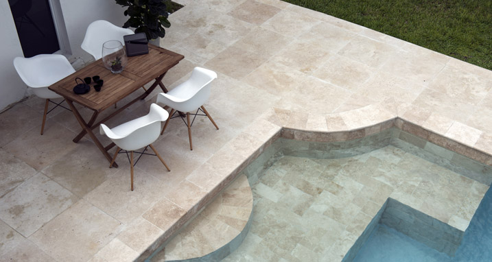 Creme Pool Coping Tiles with white furniture