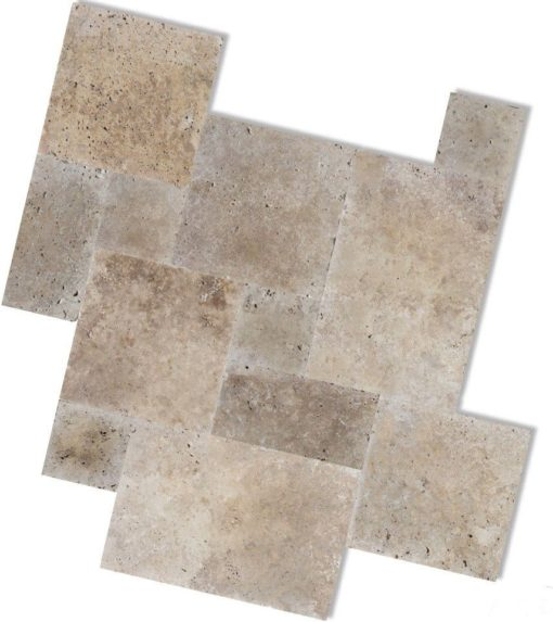 Brown and Noce coloured travertine in a french pattern design
