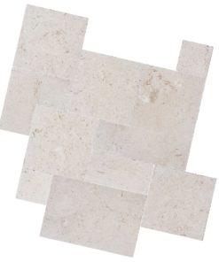White limestone french pattern pavers
