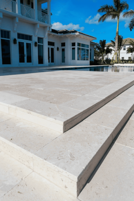 White Paving with a shell effect on step treads