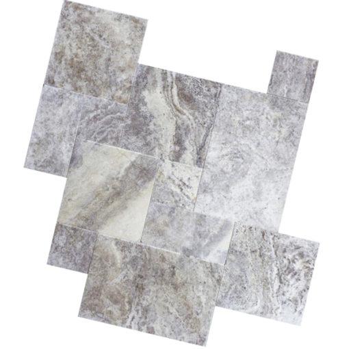 French pattern mixed size travertine paving
