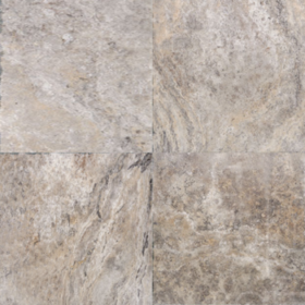 oyster, silver and beige travertine