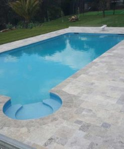 Silver Grey French Pattern Travertine with a light blue pool