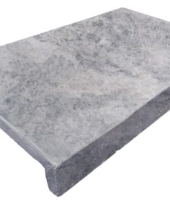 Dropface Pool Coping tile in silver grey travertine