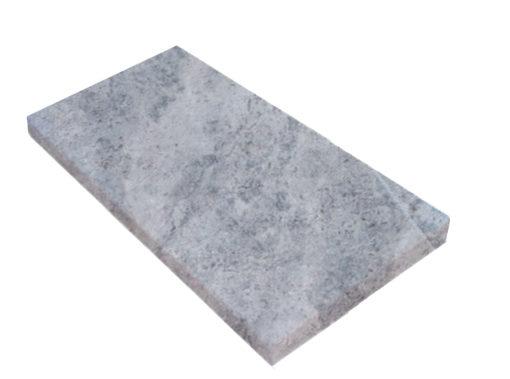 Square edge silver travertine coping tile