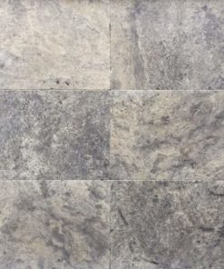 Grey, white and silver travertine tiles