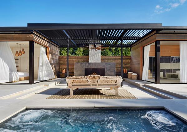 Timber decking with White Travertine Pool Pavers