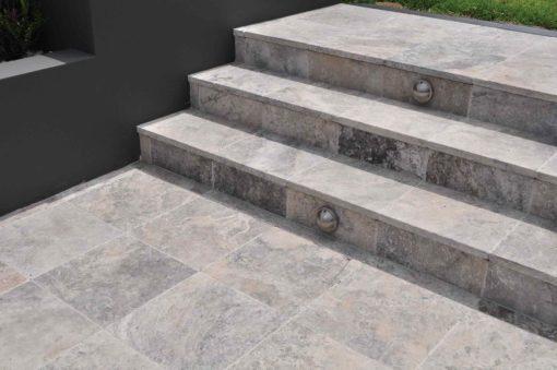 Silver Travertine step treads