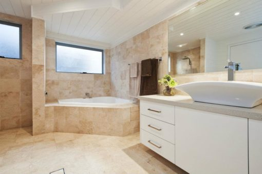 Floor to wall bathroom tiles