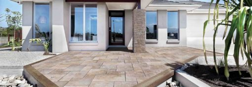 Brown french pattern tiles curved to fit front entrance